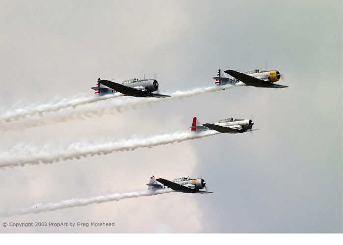 4 T-6s in formation