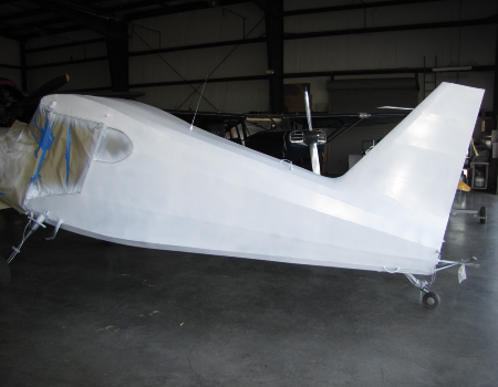 Stinson: fuselage ready to paint